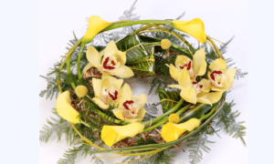 yellow funeral wreath